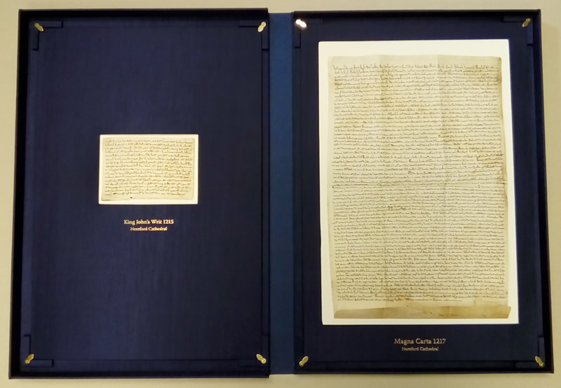 Facsimile of the Magna Carta belonging to Hereford Cathedral